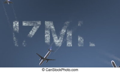 Flying airplanes reveal Izmir caption. Traveling to Turkey ...