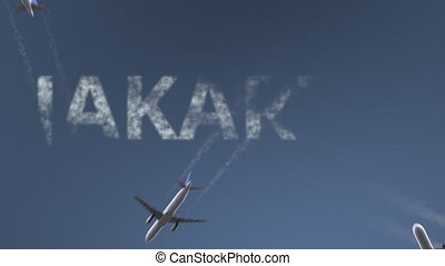 Flying airplanes reveal Jakarta caption. Traveling to...
