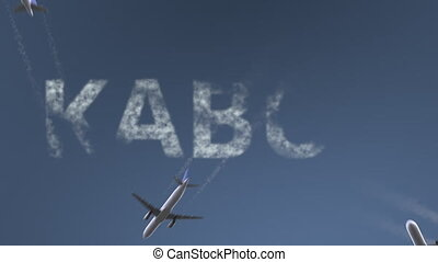 Flying airplanes reveal Kabul caption. Traveling to...
