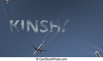 Flying airplanes reveal Kinshasa caption. Traveling to...