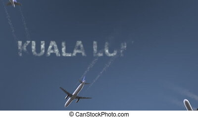 Flying airplanes reveal Kuala Lumpur caption. Traveling to...