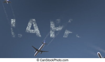 Flying airplanes reveal La Paz caption. Traveling to Bolivia...