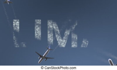 Flying airplanes reveal Lima caption. Traveling to Peru...