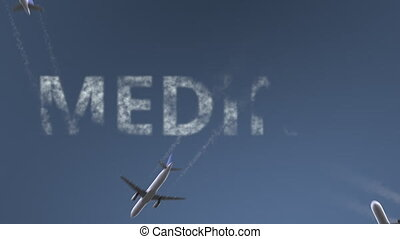 Flying airplanes reveal Medina caption. Traveling to Saudi...