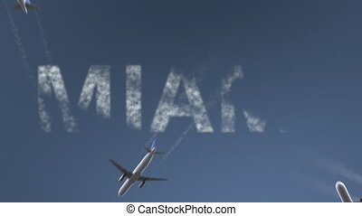 Flying airplanes reveal Miami caption. Traveling to the United States conceptual intro animation