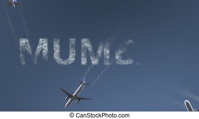 Flying airplanes reveal Mumbai caption. Traveling to India...