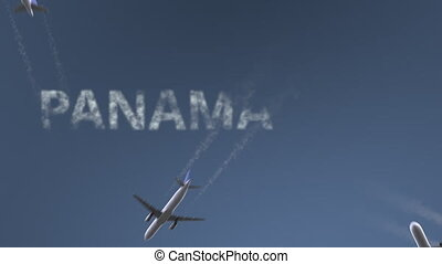 Flying airplanes reveal Panama City caption. Traveling to...
