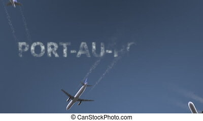 Flying airplanes reveal Port-au-Prince caption. Traveling to...