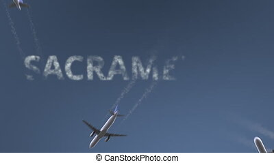 Flying airplanes reveal Sacramento caption. Traveling to the United States conceptual intro animation