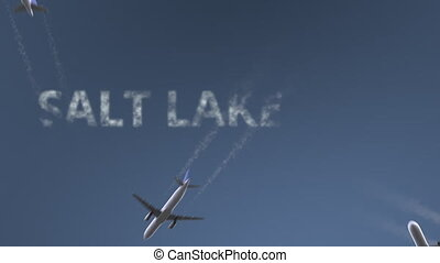Flying airplanes reveal Salt Lake City caption. Traveling to...
