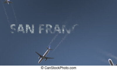 Flying airplanes reveal San Francisco caption. Traveling to...