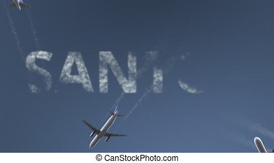 Flying airplanes reveal Santos caption. Traveling to Brazil...