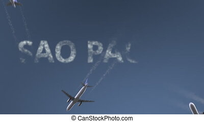 Flying airplanes reveal Sao Paulo caption. Traveling to...