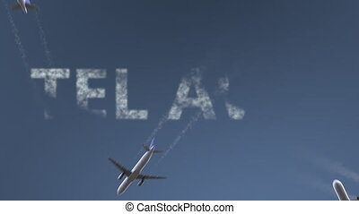 Flying airplanes reveal Tel Aviv caption. Traveling to...