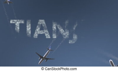 Flying airplanes reveal Tianjin caption. Traveling to China...