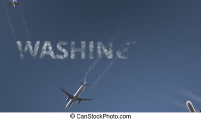 Flying airplanes reveal Washington caption. Traveling to the United States conceptual intro animation