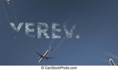 Flying airplanes reveal Yerevan caption. Traveling to...