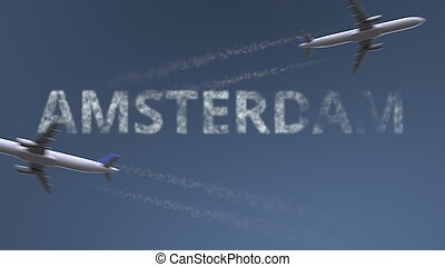 Flying airplanes trails and Amsterdam caption. Traveling to Netherlands conceptual 3D rendering