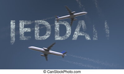 Flying airplanes trails and Jeddah caption. Traveling to Saudi Arabia conceptual 3D rendering