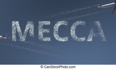 Flying airplanes trails and Mecca caption. Traveling to Saudi Arabia conceptual 3D rendering