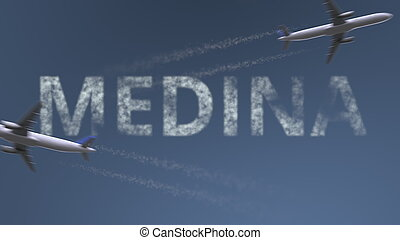 Flying airplanes trails and Medina caption. Traveling to Saudi Arabia conceptual 3D rendering