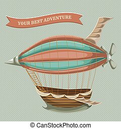 flying airship with baloon - Cartoon steampunk styled flying...