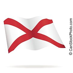 flying alabama al state flag vector