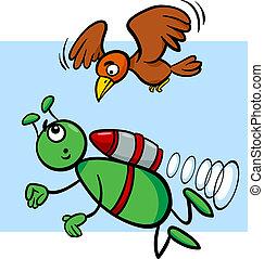 flying alien cartoon illustration