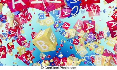 Flying alphabet cubes in red,blue