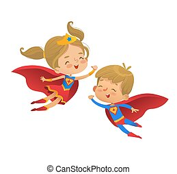 Flying and laughing Superhero boy and girl. Brown Hair Super hero children illustration isolated on white background. Cartoon vector characters of Kid Superheroes, for party, invitations, web, mascot