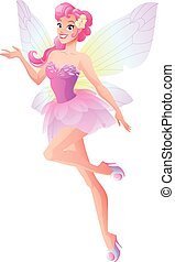 Flying and presenting fairy with wings in pink. Vector illustration.