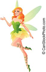 Flying and presenting fairy with wings in green. Vector illustration.