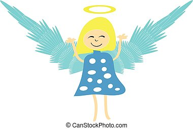 Flying angel isolated on white background