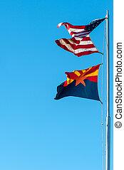 Arizona state and USA flags