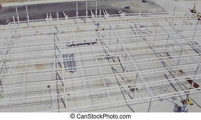Flying around a new build warehouse building