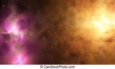 Flying around nebulas and stars