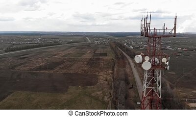Flying around the communications tower. Aerial footage from...