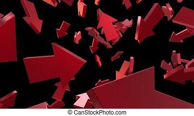 Flying arrows in red