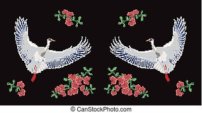 Flying Asian crane and blooming flowers embroidered with colorful threads on black background. Embroidery design with gorgeous bird. Trendy needlework or fancywork. Colored vector illustration.