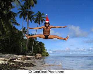 Flying Asian Santa