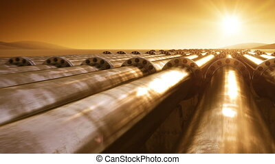 Flying at Pipelines Route Endless. Looped 3d animation. HD...