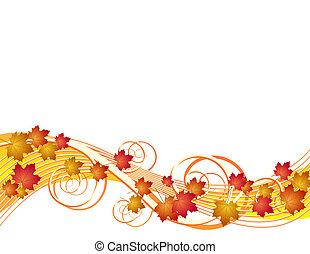 Flying autumn leaves. Vector illustration on white background