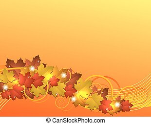 Flying autumn leaves background