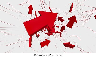 Flying away arrows in red on white