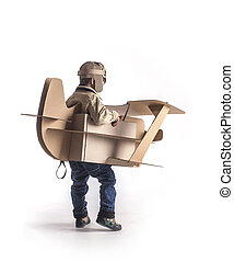 Flying away - Child is flying away on hand made cardboard...