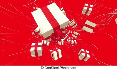 Flying away gift boxes on red
