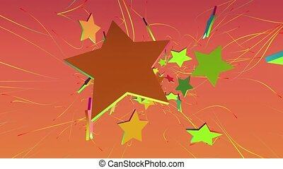 Flying away stars in various colors