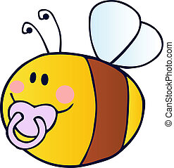 Flying Baby Bee Cartoon Character - Pudgy Baby Bee With A...