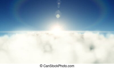 Flying backwards over the clouds with the sun