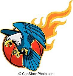 Flying Bald Eagle And Flaming Baske